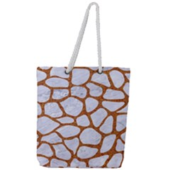 Skin1 White Marble & Rusted Metal Full Print Rope Handle Tote (large) by trendistuff