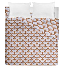 Scales3 White Marble & Rusted Metal (r) Duvet Cover Double Side (queen Size) by trendistuff