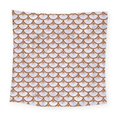 Scales3 White Marble & Rusted Metal (r) Square Tapestry (large) by trendistuff