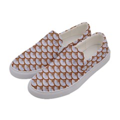 Scales3 White Marble & Rusted Metal (r) Women s Canvas Slip Ons by trendistuff
