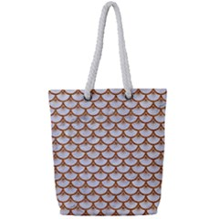 Scales3 White Marble & Rusted Metal (r) Full Print Rope Handle Tote (small) by trendistuff
