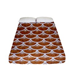 Scales3 White Marble & Rusted Metal Fitted Sheet (full/ Double Size) by trendistuff