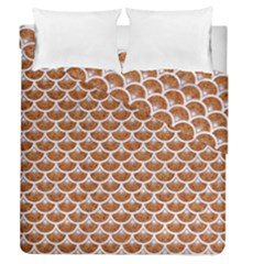 Scales3 White Marble & Rusted Metal Duvet Cover Double Side (queen Size) by trendistuff