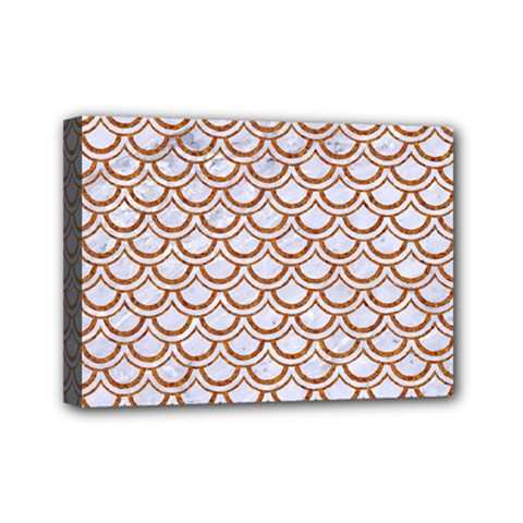 Scales2 White Marble & Rusted Metal (r) Mini Canvas 7  X 5  by trendistuff