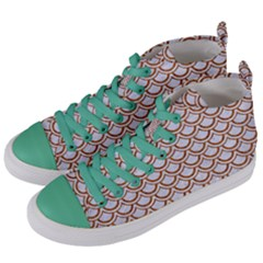 Scales2 White Marble & Rusted Metal (r) Women s Mid Top Canvas Sneakers by trendistuff