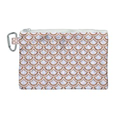 Scales2 White Marble & Rusted Metal (r) Canvas Cosmetic Bag (large) by trendistuff