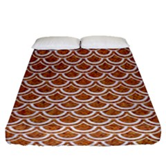Scales2 White Marble & Rusted Metal Fitted Sheet (queen Size) by trendistuff