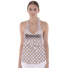 Scales1 White Marble & Rusted Metal (r) Babydoll Tankini Top