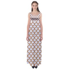 Scales1 White Marble & Rusted Metal (r) Empire Waist Maxi Dress by trendistuff