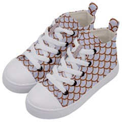 Scales1 White Marble & Rusted Metal (r) Kid s Mid Top Canvas Sneakers by trendistuff