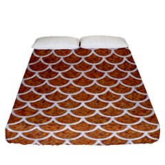Scales1 White Marble & Rusted Metal Fitted Sheet (queen Size) by trendistuff