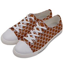 Scales1 White Marble & Rusted Metal Women s Low Top Canvas Sneakers by trendistuff