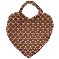 Scales1 White Marble & Rusted Metal Giant Heart Shaped Tote by trendistuff