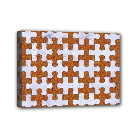 Puzzle1 White Marble & Rusted Metal Mini Canvas 7  X 5  by trendistuff