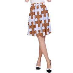 Puzzle1 White Marble & Rusted Metal A Line Skirt by trendistuff