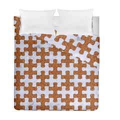 Puzzle1 White Marble & Rusted Metal Duvet Cover Double Side (full/ Double Size) by trendistuff