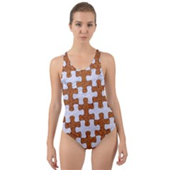 Puzzle1 White Marble & Rusted Metal Cut Out Back One Piece Swimsuit by trendistuff