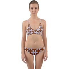 Puzzle1 White Marble & Rusted Metal Wrap Around Bikini Set by trendistuff