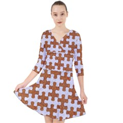 Puzzle1 White Marble & Rusted Metal Quarter Sleeve Front Wrap Dress by trendistuff