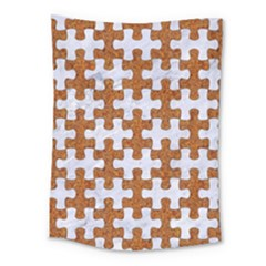 Puzzle1 White Marble & Rusted Metal Medium Tapestry by trendistuff