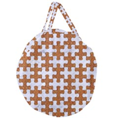 Puzzle1 White Marble & Rusted Metal Giant Round Zipper Tote by trendistuff