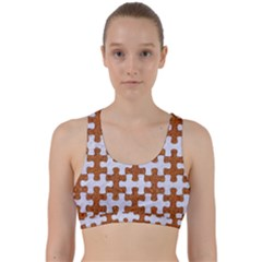 Puzzle1 White Marble & Rusted Metal Back Weave Sports Bra by trendistuff
