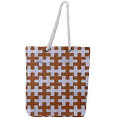 Puzzle1 White Marble & Rusted Metal Full Print Rope Handle Tote (large) by trendistuff
