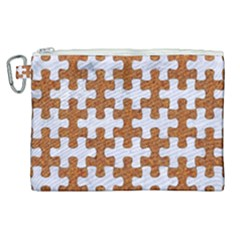 Puzzle1 White Marble & Rusted Metal Canvas Cosmetic Bag (xl) by trendistuff