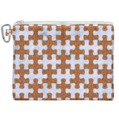 Puzzle1 White Marble & Rusted Metal Canvas Cosmetic Bag (xxl) by trendistuff