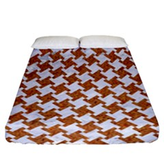 Houndstooth2 White Marble & Rusted Metal Fitted Sheet (california King Size) by trendistuff