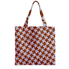 Houndstooth2 White Marble & Rusted Metal Zipper Grocery Tote Bag by trendistuff