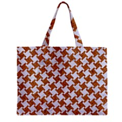 Houndstooth2 White Marble & Rusted Metal Zipper Mini Tote Bag by trendistuff