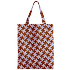 Houndstooth2 White Marble & Rusted Metal Zipper Classic Tote Bag by trendistuff