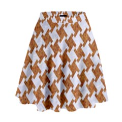 Houndstooth2 White Marble & Rusted Metal High Waist Skirt by trendistuff