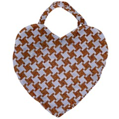 Houndstooth2 White Marble & Rusted Metal Giant Heart Shaped Tote by trendistuff