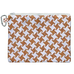 Houndstooth2 White Marble & Rusted Metal Canvas Cosmetic Bag (xxl) by trendistuff