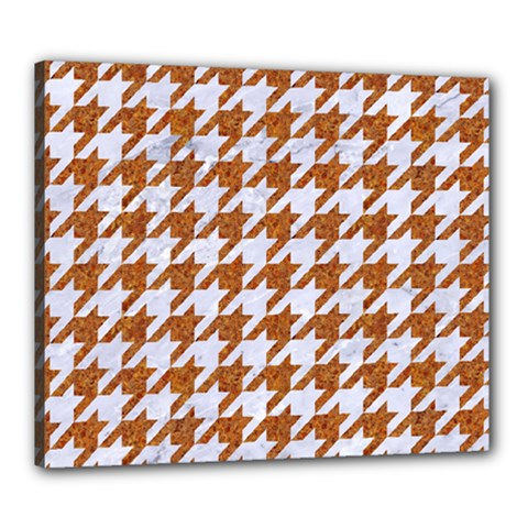 Houndstooth1 White Marble & Rusted Metal Canvas 24  X 20  by trendistuff