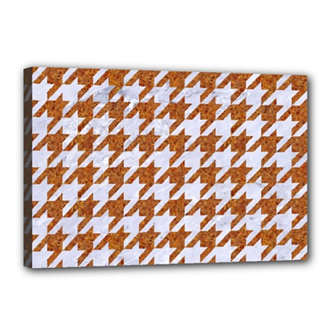 Houndstooth1 White Marble & Rusted Metal Canvas 18  X 12  by trendistuff