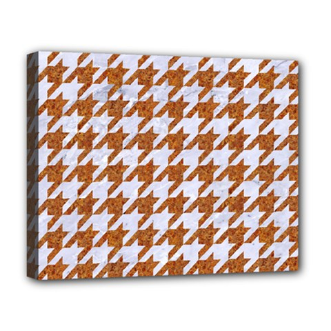 Houndstooth1 White Marble & Rusted Metal Deluxe Canvas 20  X 16   by trendistuff