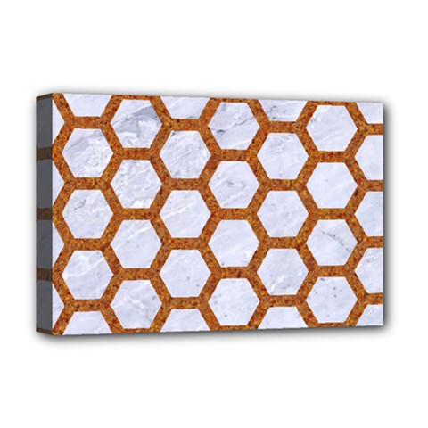 Hexagon2 White Marble & Rusted Metal (r) Deluxe Canvas 18  X 12   by trendistuff