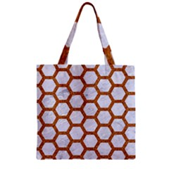 Hexagon2 White Marble & Rusted Metal (r) Zipper Grocery Tote Bag by trendistuff