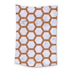 Hexagon2 White Marble & Rusted Metal (r) Small Tapestry by trendistuff
