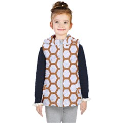 Hexagon2 White Marble & Rusted Metal (r) Kid s Hooded Puffer Vest