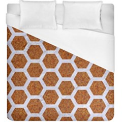 Hexagon2 White Marble & Rusted Metal Duvet Cover (king Size) by trendistuff