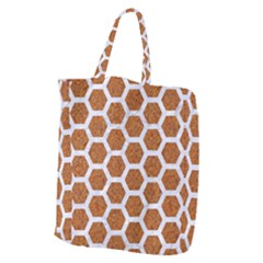 Hexagon2 White Marble & Rusted Metal Giant Grocery Zipper Tote by trendistuff
