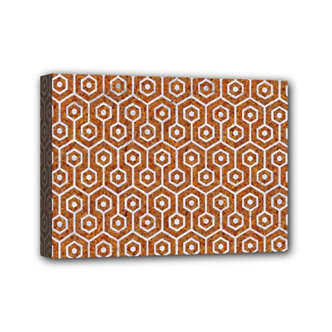 Hexagon1 White Marble & Rusted Metal Mini Canvas 7  X 5  by trendistuff