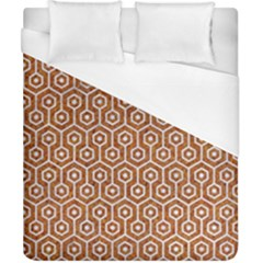 Hexagon1 White Marble & Rusted Metal Duvet Cover (california King Size) by trendistuff