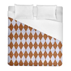 Diamond1 White Marble & Rusted Metal Duvet Cover (full/ Double Size) by trendistuff