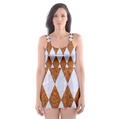 Diamond1 White Marble & Rusted Metal Skater Dress Swimsuit