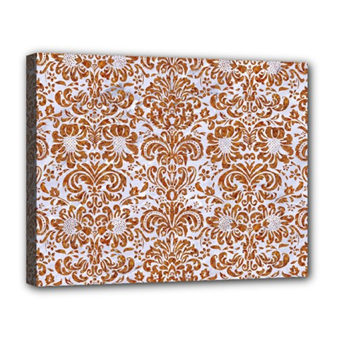 Damask2 White Marble & Rusted Metal (r) Canvas 14  X 11  by trendistuff